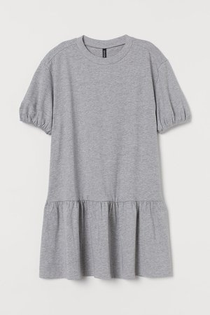 Puff-sleeved Jersey Dress - Gray