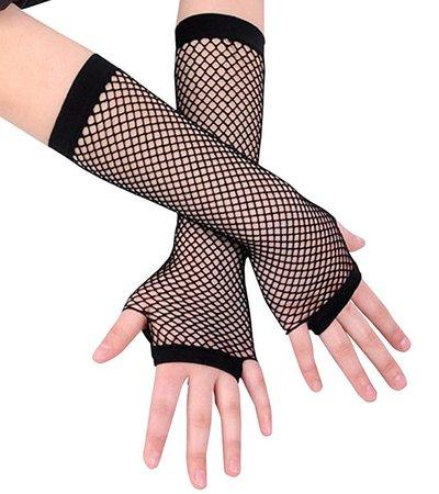 Amazon.com: Ayliss 2 Pairs Long+short Fishnet Gloves 8 Colors Available, Black, One Size: Clothing