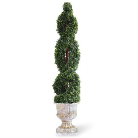 Shop 54-inch Double Cedar Spiral Tree with Decorative Urn - Green - Free Shipping Today - Overstock.com - 9788049