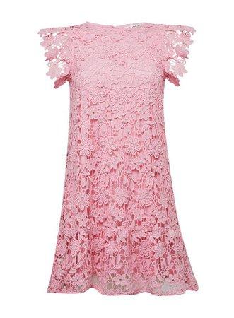 Pink Tiered Lace Mini Dress | Miss Selfridge