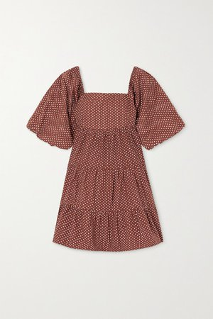 Net Sustain Eryn Tie-back Polka-dot Cotton-poplin Mini Dress - Brown
