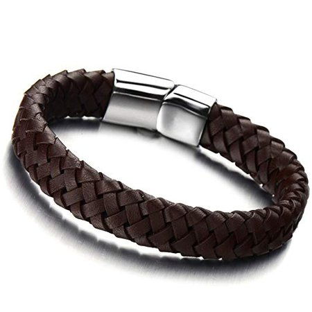 Amazon.com: COOLSTEELANDBEYOND Minimalist Brown Braided Leather Bracelet for Men Women Genuine Leather Bangle Wristband: Clothing