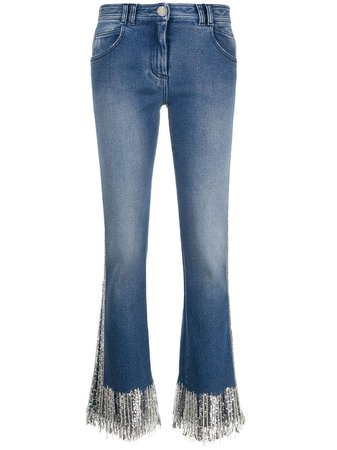Balmain Fringed low-rise Flared Jeans - Farfetch
