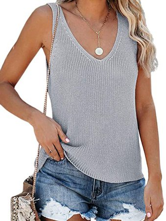 Tutorutor Womens Sleeveless V Neck Sweater Vest Summer Knitted Loose Cami Tank Top at Amazon Women's Clothing store