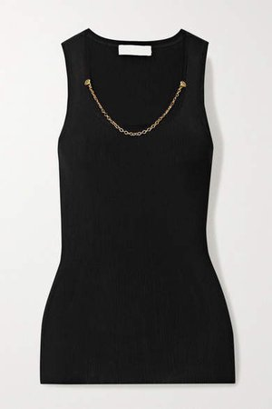 Chain-embellished Ribbed Jersey Tank - Black