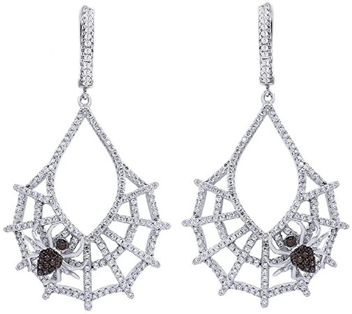 Round Cut White Cubic Zirconia Spider Hoop Earring In Sterling Silver: Jewelry