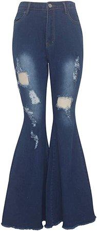 Amazon.com: SheKiss Women Destoryed Flare Jeans Elastic Waist Bell Bottom Cowgirl Denim Pants: Clothing