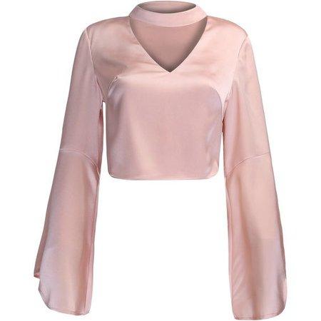 Pink V-neck Choker Detail Flare Sleeve Crop Top