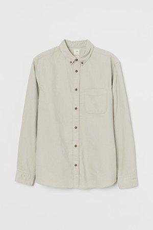 Regular Fit Corduroy Shirt - Light beige - Men   H&M US