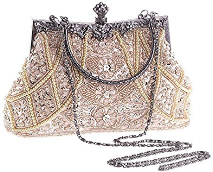 Amazon.com: Vintage Beaded and Sequined Women Evening Bag Evening Purse Clutch Bag Champagne : Clothing, Shoes & Jewelry