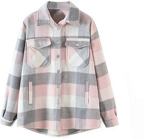 Women's Plaid Shirts Long Sleeve Lapel Button Down Jacket Buffalo Blouses Tops Shirts Tunic Coat (Plaid-Coffee, X-Small) at Amazon Women's Clothing store