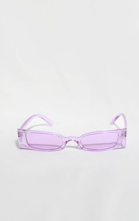 Lilac Rectangle Slim Sunglasses   Accessories   PrettyLittleThing