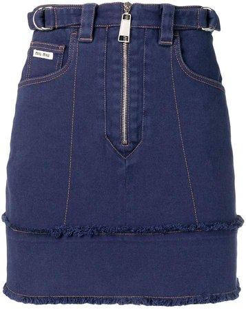 zip fringed denim skirt
