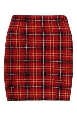 Tartan Check Jersey Mini Skirt | Boohoo