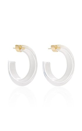 Alison Lou Small Jelly Lucite Hoop Earrings in White