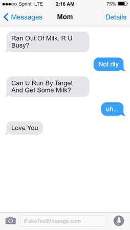 Fake Text Message - Milk