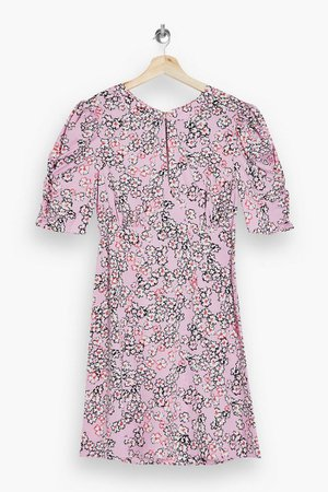 Pink Ruched Sleeve Mini Dress | Topshop