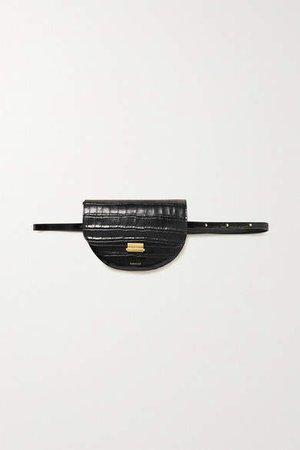 Anna Croc-effect Leather Belt Bag - Black