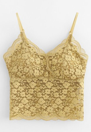 Lace Crop Tank Top in Yellow - Retro, Indie and Unique Fashion