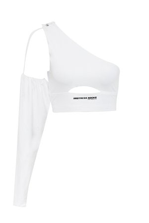 'Midfielder' White Puff Sleeve Crop Top - Mistress Rock