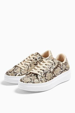 CUBA Snake Lace Up Trainers | Topshop brown