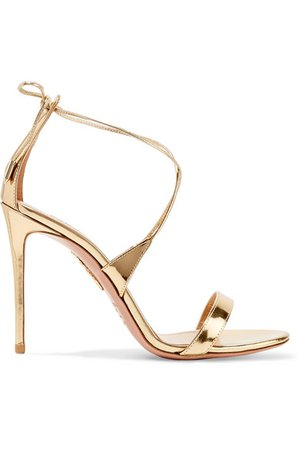 Aquazzura | Linda 105 metallic leather sandals | NET-A-PORTER.COM