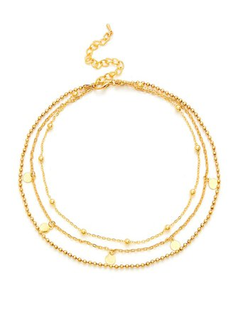 Cheap Sequin & Beads Design Layered Chain Necklace for sale Australia | SHEIN