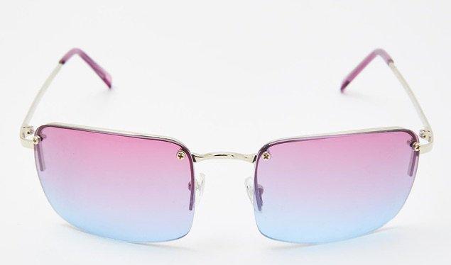 pink blue rimless sunglasses