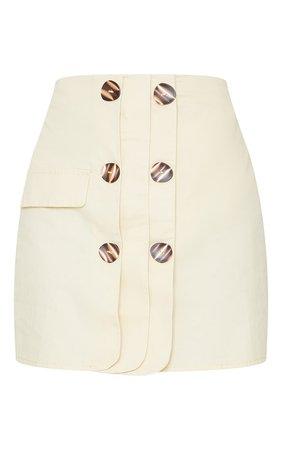 Cream Button Detail Cargo Mini Skirt | PrettyLittleThing USA