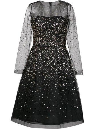 Oscar de la Renta gold-tone sequined flared dress BLACK Women Clothing Cocktail & Party Dresses,oscar de la renta rose ring,top brands, oscar de la renta sunglasses walmart Online Retailer