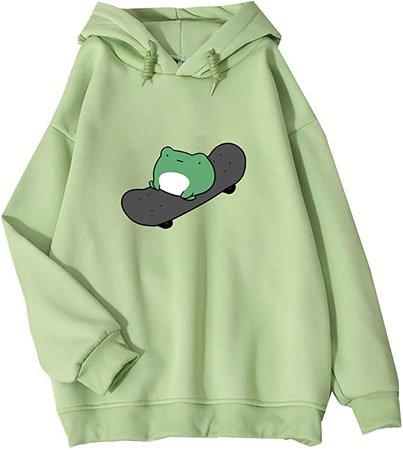 Amazon.com: Women's Cute Sweatshirts Frog Skateboard Long Sleeve Casual Hoodie Pullover Tops (Green,Asian L): Clothing