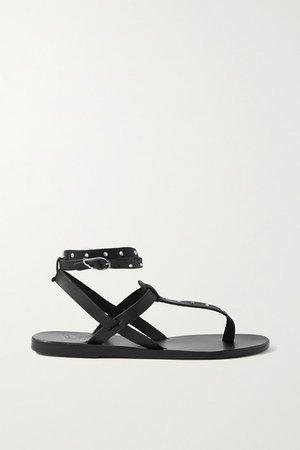 Estia Swarovski Crystal-embellished Leather Sandals - Black