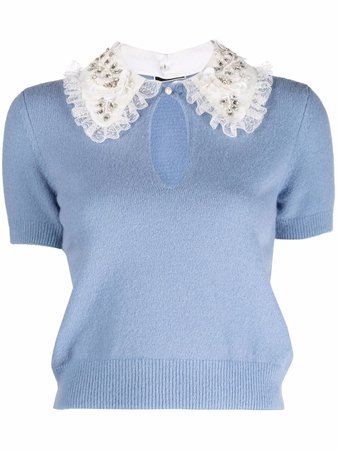 Elisabetta Franchi contrast-collar knitted top