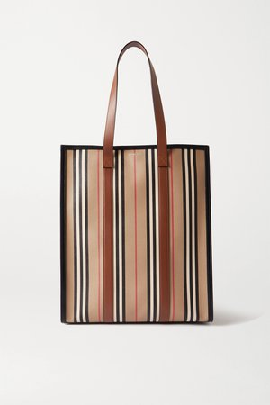 Brown Leather-trimmed striped coated-canvas tote | Burberry | NET-A-PORTER