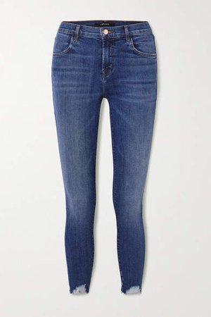 Alana Distressed High-rise Skinny Jeans - Mid denim