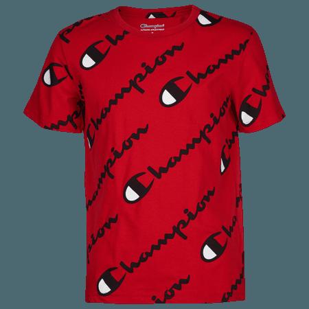 Champion Exploded Script T-Shirt - Boys' Grade School - Casual - Clothing - White