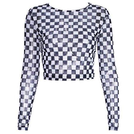Long Sleeve Checkerboard Sheer Mesh Crop Top