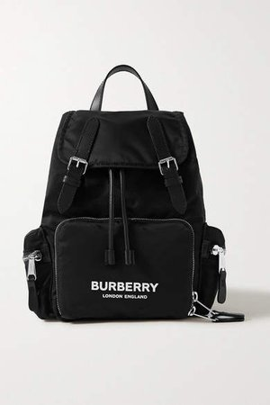 Leather-trimmed Shell Backpack - Black