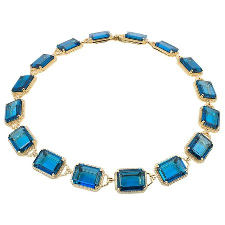London Blue Topaz Emerald Cut Choker Necklace For Sale at 1stdibs