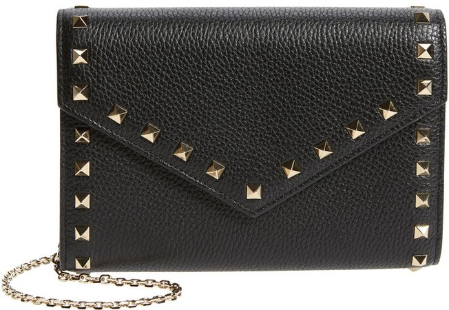 Rockstud Leather Envelope Wallet on a Chain