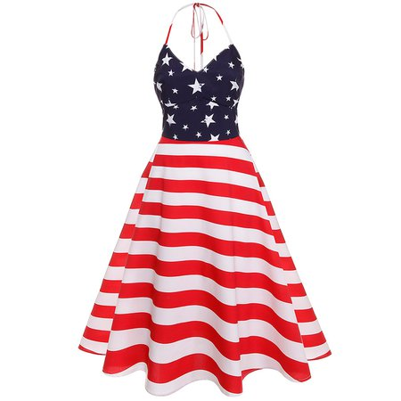 4th of July Patriotic Day Halter American Flag Print Dress