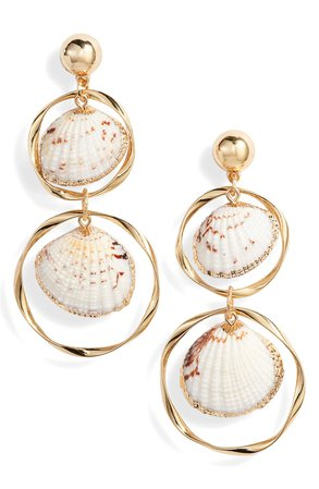 Ettika Double Shell & Hoop Drop Earrings | Nordstrom
