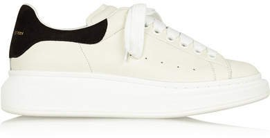 Leather And Suede Exaggerated-sole Sneakers - White