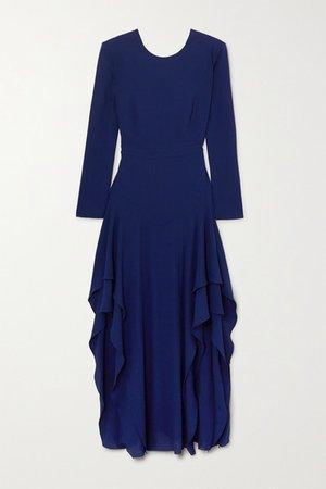 Ruffled Crepe Maxi Dress - Blue