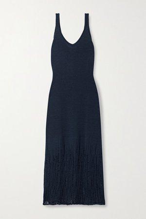 Knitted Midi Dress - Navy