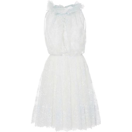 Monique Lhuillier Sleeveless Ruffled Neck Lace Dress