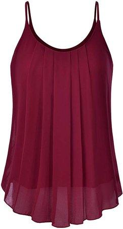 EIMIN Women's Pleated Chiffon Layered Sleeveless Cami Tank Tunic Top Burgundy 1XL at Amazon Women's Clothing store