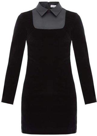 Satin Bib Velvet Mini Dress - Womens - Black