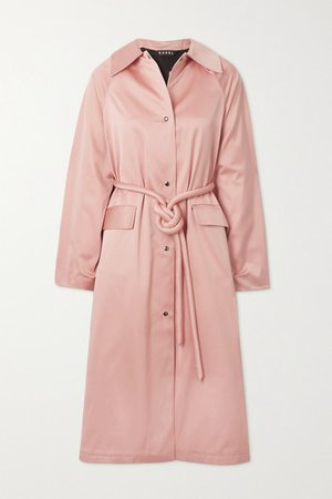 Satin Belted Trench Coat - Baby pink