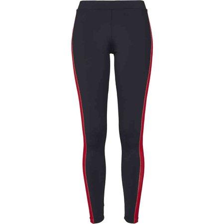 Urban Classics Ladies Side Stripe Leggings black / green / fire red |